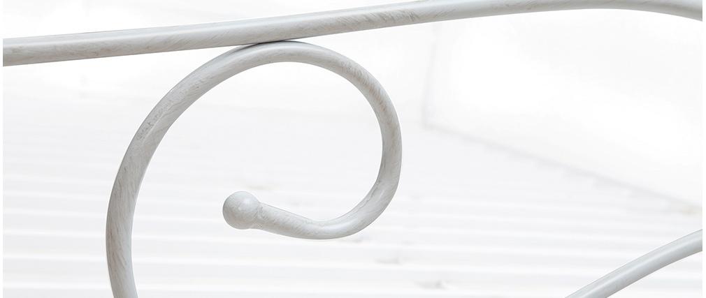 Baldachinbett im Barockstil für 2 Personen 140x190 VENEZIA Weiß patiniert