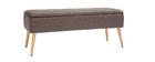 Banktruhe aus dunkelgrauem Stoff und hellem Holz LARS