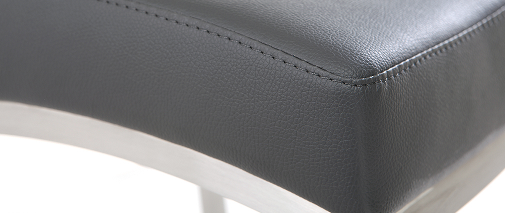 Barhocker Aluminium gebürstet PU Dunkelgrau 66 cm (2er-Set) OLLY