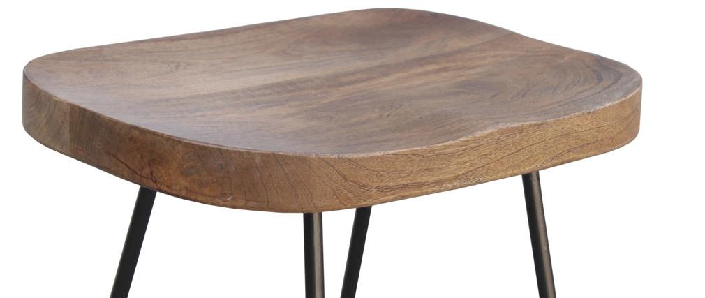 Barhocker aus massivem Metall und Mangoholz 65 cm (2er-Satz) RUNKO