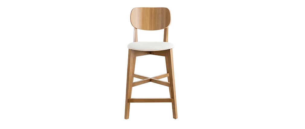 Barhocker H65 Design Eichenholz und weiße Sitzfläche H65 cm LUCIA