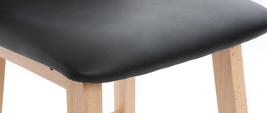 Barhocker helles Holz und PU Schwarz 65 cm Set 2 Stück OSAKA
