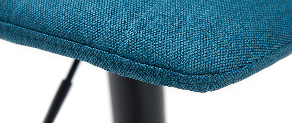 Barhocker höhenverstellbar aus entenblauem Stoff und Metall (2er-Set) SAURY