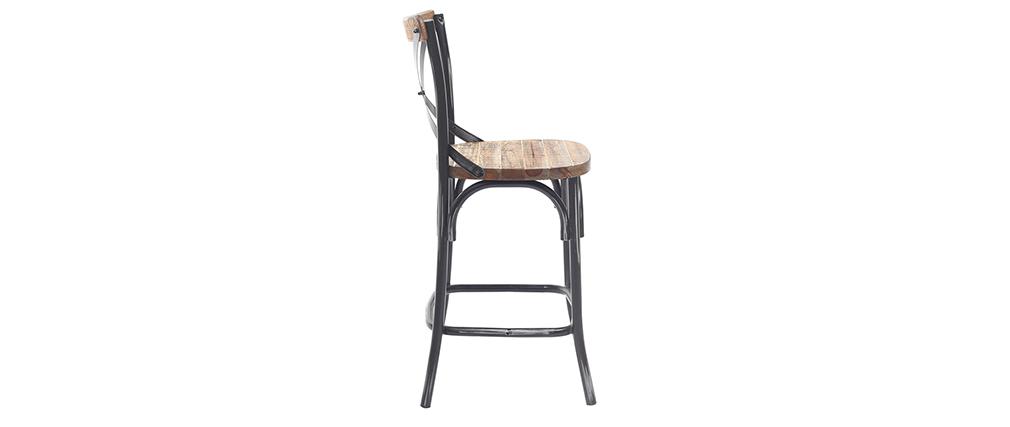 Barhocker Industrie-Look aus Holz und Metall gealtert Schwarz 65 cm JAKE