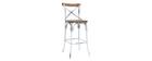 Barhocker Industrie-Look aus Holz und Metall gealtert Weiß 75 cm JAKE