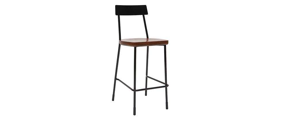 Barhocker Industrie-Look Metall und schwarzes Holz 65 cm (2er-Set) OUDIN