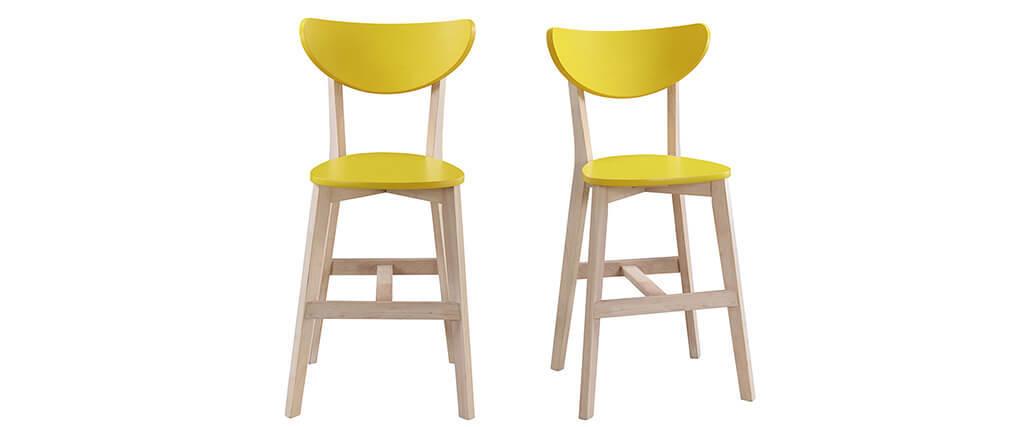 Barhocker skandinavisch Gelb und Holz 65cm 2er-Set LEENA