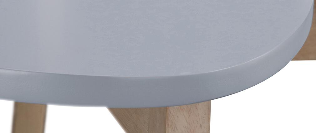 Barhocker skandinavisch Grau und Holz 65cm 2er-Set LEENA