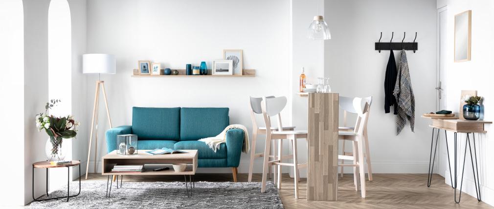Barhocker skandinavisch Weiß und Holz 65cm 2er-Set LEENA