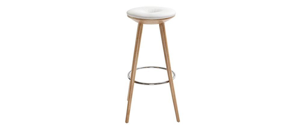 Barhocker skandinavischer Stil Weiß Beine helles Holz 79 cm NORDECO