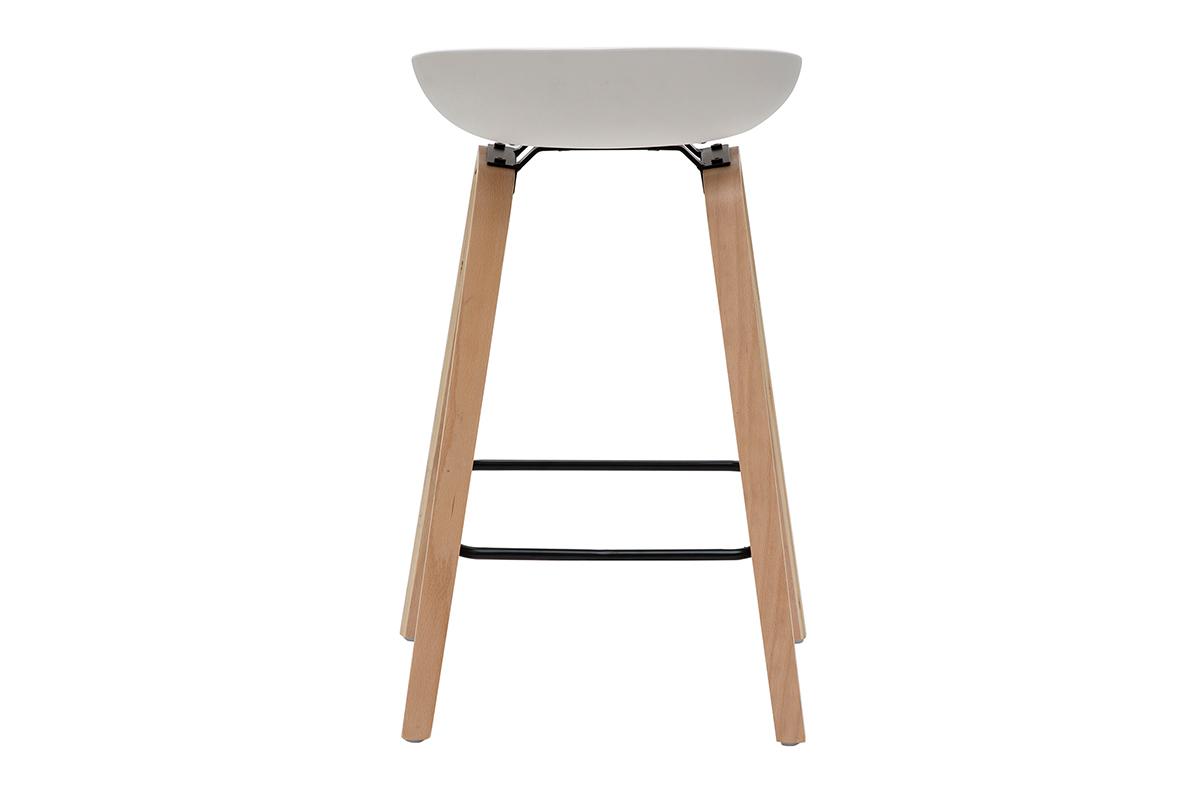Barhocker weiß Holzbeine 65 cm (2er Set) LINO Miliboo