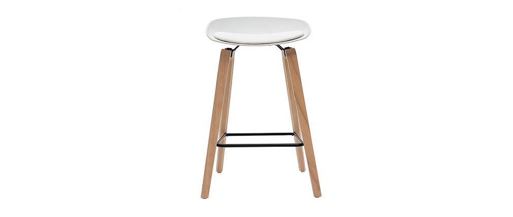 Barhocker weiß Holzbeine 65 cm (2er-Set) LINO