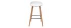 Barhocker weiß Holzbeine 75 cm (2er-Set) LINO