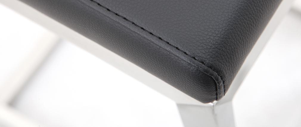 Barhocker zeitgenössisches Design - Aluminium und PU Schwarz - STELLAR