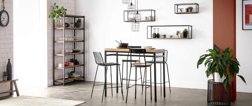 Bartisch Industrie-Look aus Mangoholz und schwarzem Metall YPSTER
