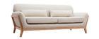 Beigefarbenes skandinavisches 3-Sitzer-Sofa mit Holzbeinen YOKO