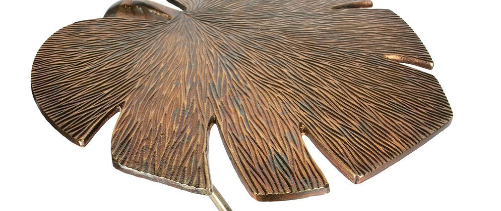 Beistelltisch Blatt mit Platte aus antikem Messing FOGLIA