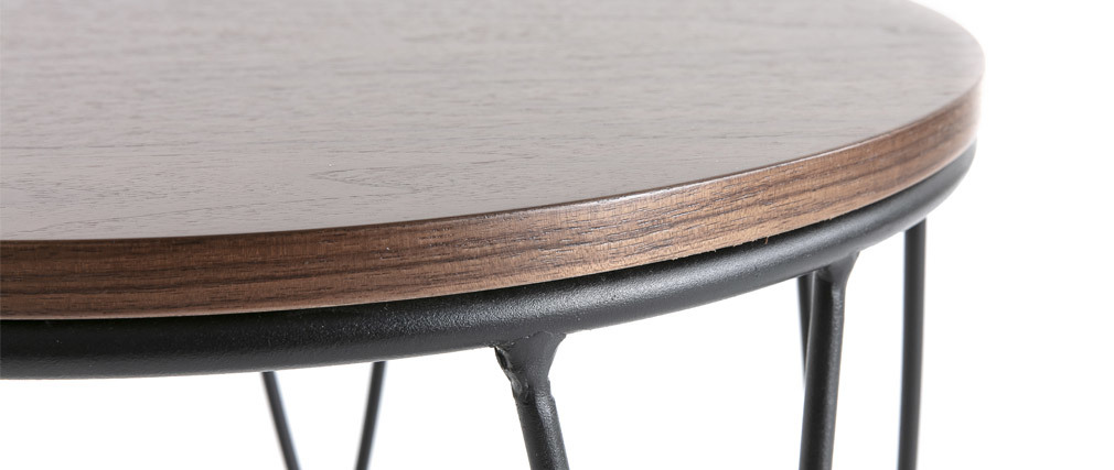 Beistelltisch dunkles Holz und Metall 42 cm LACE