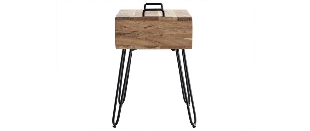 Beistelltisch mit Aufbewahrungsmöglichkeit aus Akazienholz und schwarzem Metall ALVIN