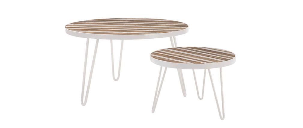 Beistelltisch rund Holzfurnier und Metall Weiß 50x35 ROCHELLE