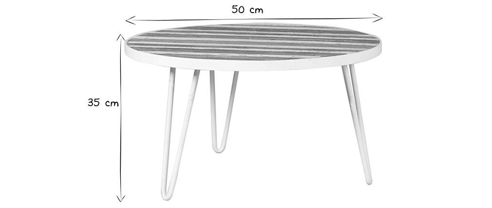 beistelltisch rund holzfurnier und metall wei 50x35 rochelle miliboo. Black Bedroom Furniture Sets. Home Design Ideas