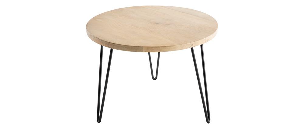 Beistelltisch rund Mangoholz und Metall 60 x 45 cm (B x H) VIBES