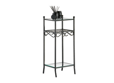 Beistelltisch / Telefontisch aus Glas und Stahl Florence