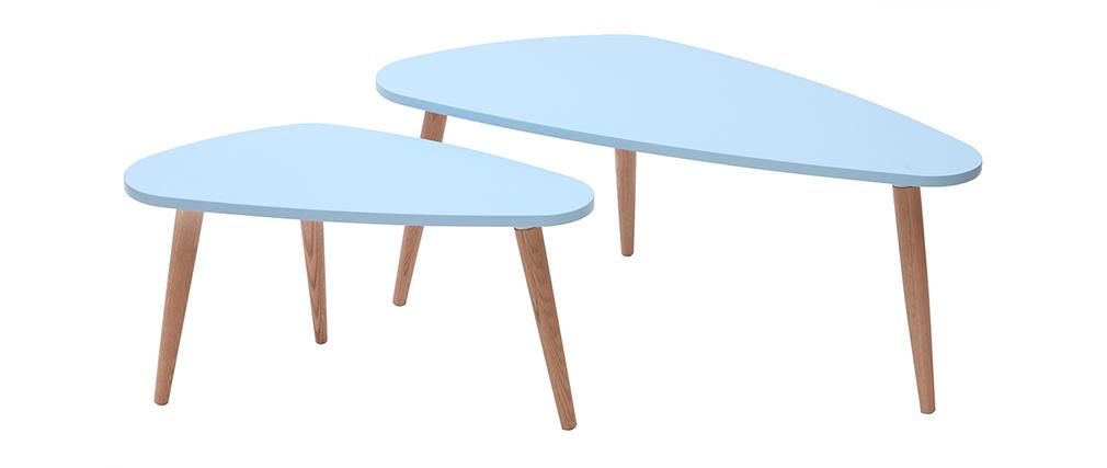 Beistelltische skandinavisch Lagunenblau und helles Holz ARTIK