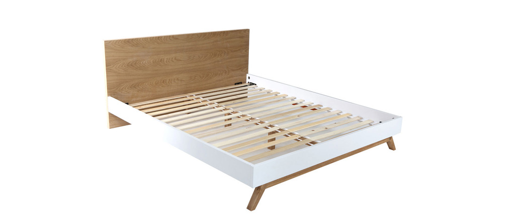 Bett 160 cm x 200 cm skandinavisches design helia miliboo for Skandinavisches bett