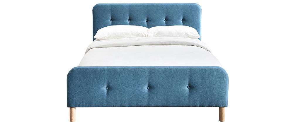 Bett 160 x 200 cm, gepolstert in entenblauem Stoff ORLANE