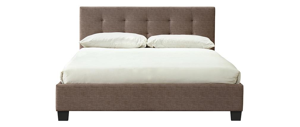 Bett 160 x 200 Stoff Beige gepolstert MARQUISE