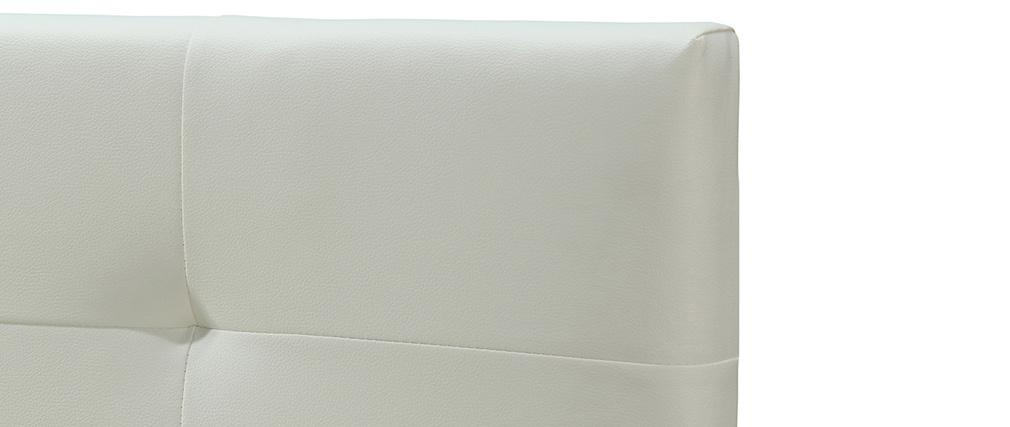 Bett 160 x 200 Stoff Weiss gepolstert MARQUISE