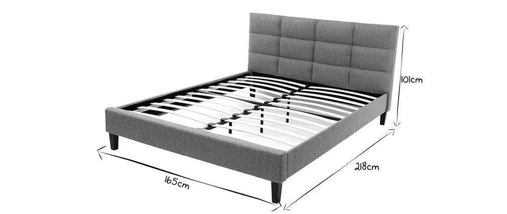 Bett für Erwachsene 160 x 200 cm Hellgrau EMERY