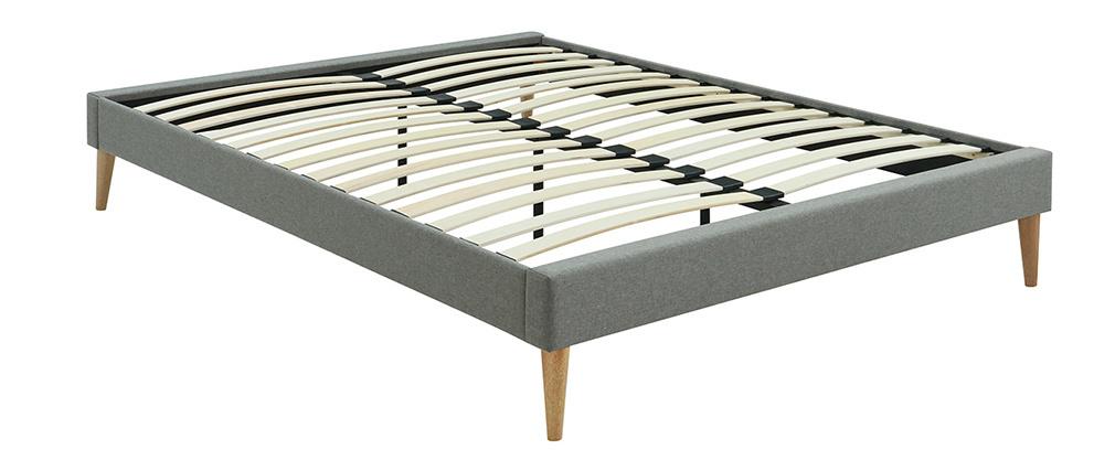 Bett für Erwachsene 160 x 200 cm mit Bettkasten aus grauem Stoff AYO