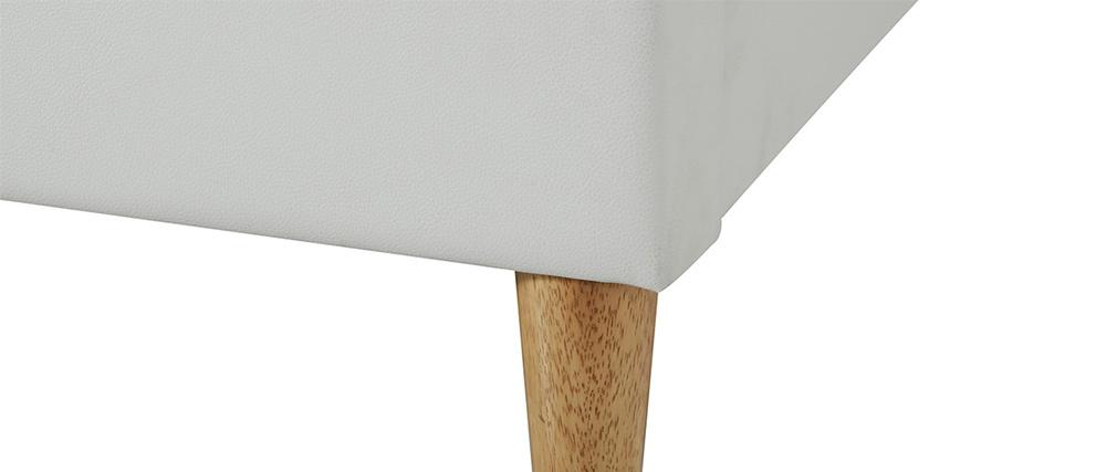 Bett für Erwachsene 160 x 200 cm mit weißem Bettkasten und Holz AYO