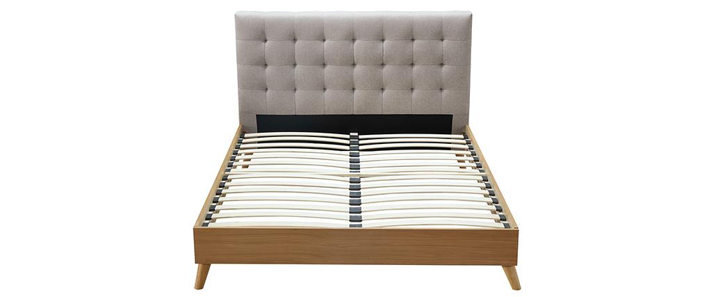 Bett für Erwachsene Skandinavisch Holz und Stoff Beige 140 x 200 cm LYNN