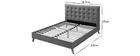 Bett für Erwachsene Skandinavisch Holz und Stoff Beige 160 x 200 cm LYNN