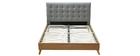 Bett für Erwachsene Skandinavisch Holz und Stoff Grau 140 x 200 cm LYNN