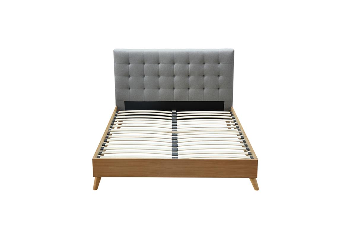 Bett Für Erwachsene Skandinavisch Holz Und Stoff Grau 160 X