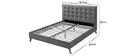Bett für Erwachsene Skandinavisch Holz und Stoff Grau 160 x 200 cm LYNN
