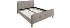 Bett gepolstert Stoff Beige 160 x 200 cm HOLSEN