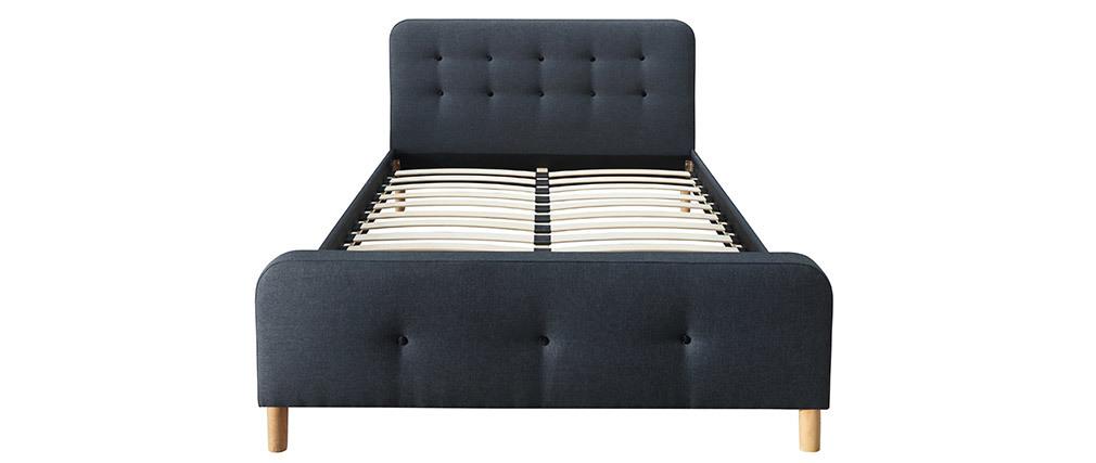 Bett gepolstert Stoff Dunkelgrau 160 x 200 cm HOLSEN