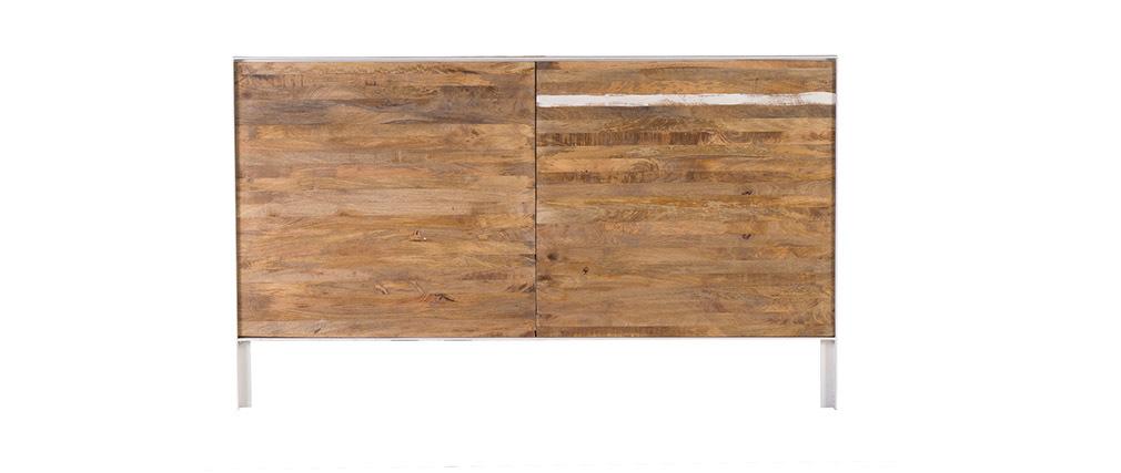 bett kopfteil holz metall wei 170 x 100 cm rochelle miliboo. Black Bedroom Furniture Sets. Home Design Ideas