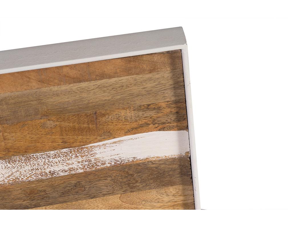 Bett Kopfteil Holz Metall Weiss 170 X 100 Cm Rochelle Miliboo
