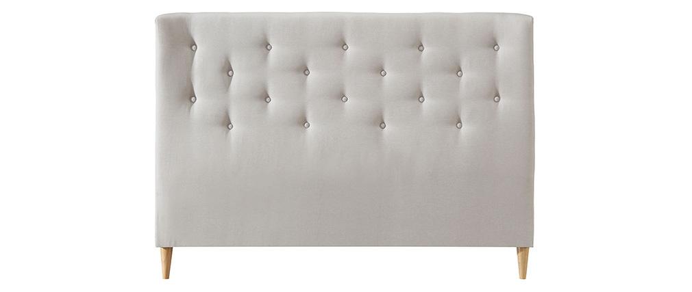 Bettkopfteil 140 gepolstert aus beigem Stoff EROS