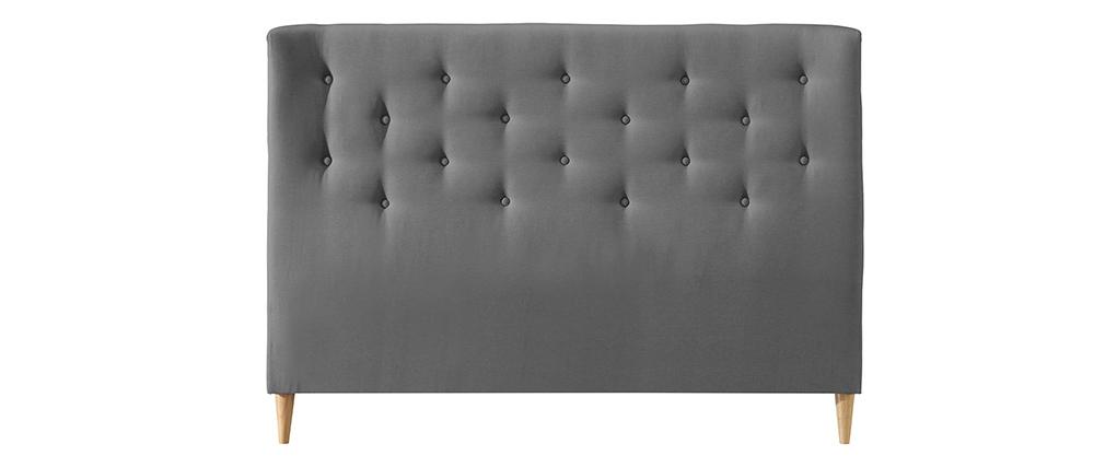 Bettkopfteil 160 gepolstert aus hellgrauem Stoff EROS
