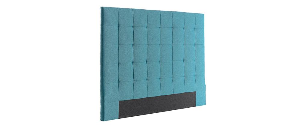 Bettkopfteil, gepolstert, aus blaugrünem Stoff, 160 cm HALCIONA