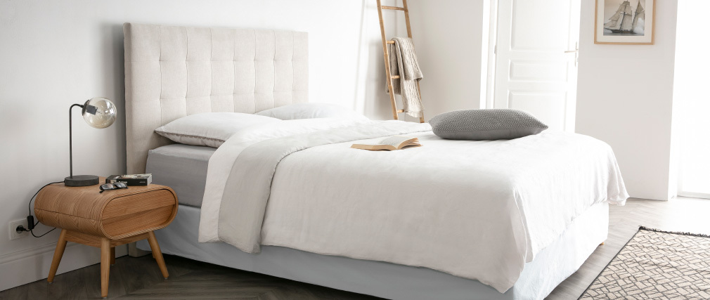 Bettkopfteil gepolstert beigefarbener Stoff 160 cm HALCION