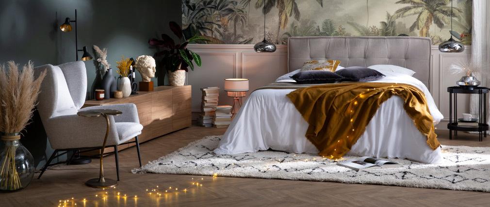 Bettkopfteil hellgrauer Stoff 170 cm SUKA