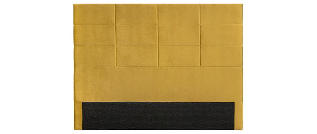 Bettkopfteil, modern, aus senfgelber Stoff, 160 cm ANATOLE